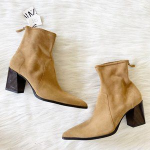 NEW Zara Real Suede Leather Tan Pointy Ankle Boots